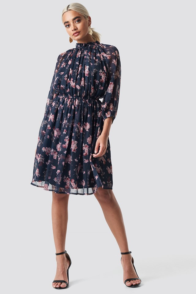 High Neck Elastic Waist Puff Dress Dark Blue Flower