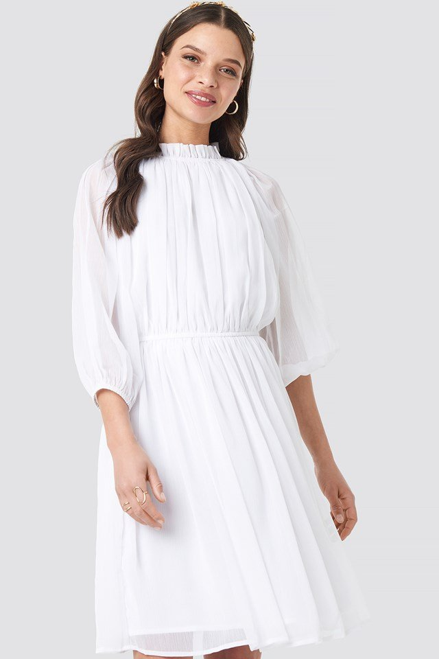 High Neck Elastic Waist Puff Dress White