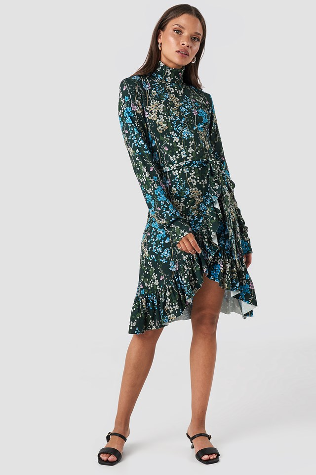 High Neck Floral Wrap Dress Floral Print