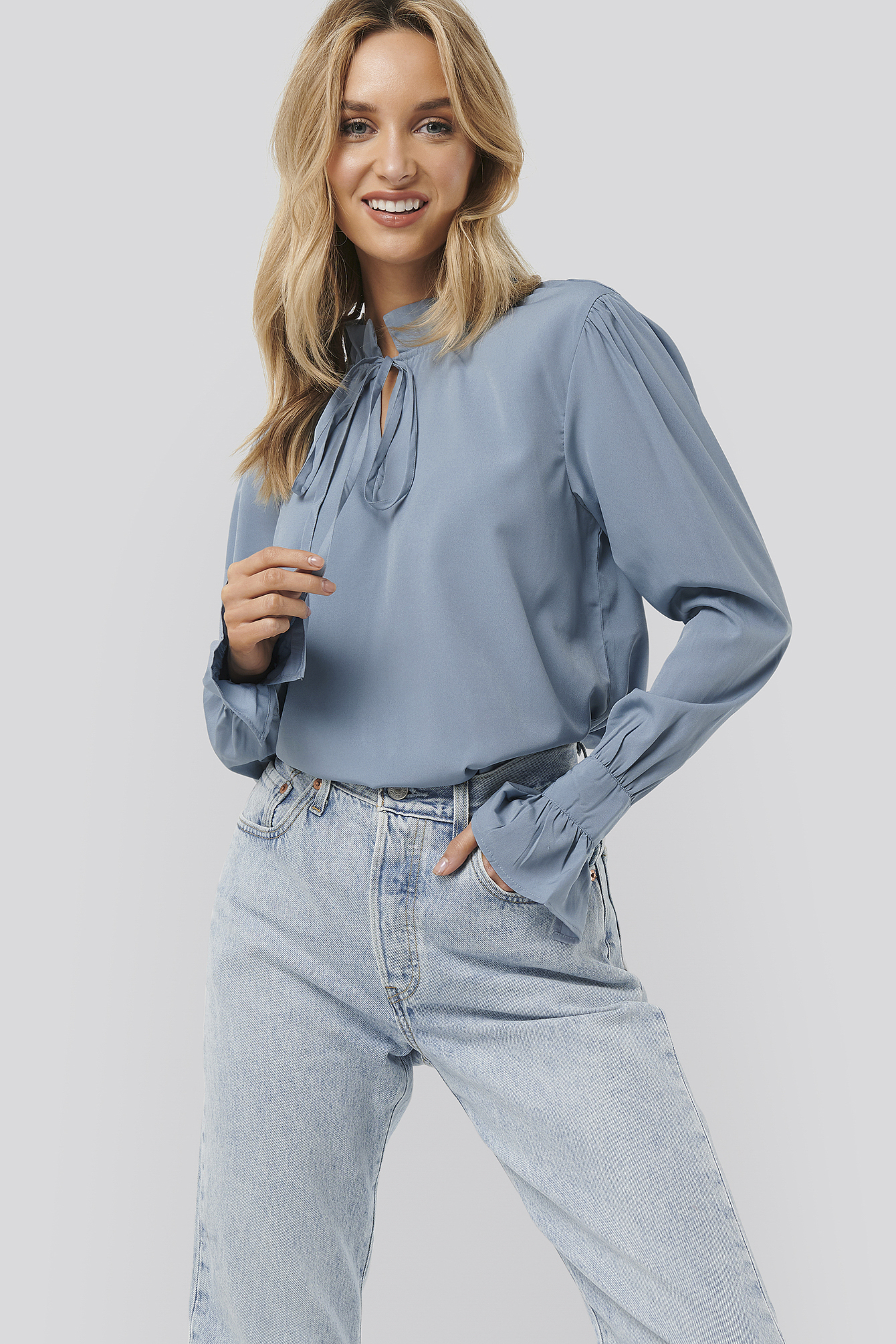 Dusty Blue High Neck Frill Blouse