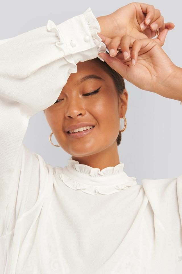 High Neck Frill Blouse White