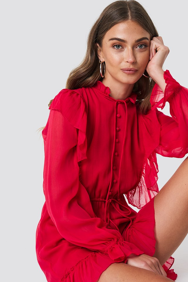 High Neck Frill Detail Playsuit Red