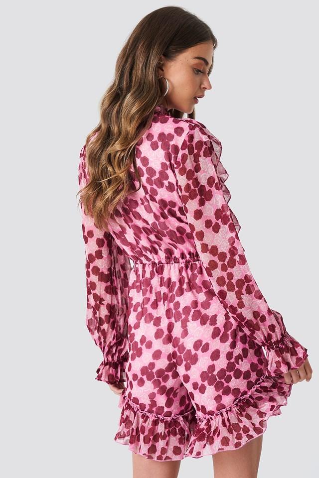 High Neck Frill Detail Playsuit Pink/Burgundy Roses