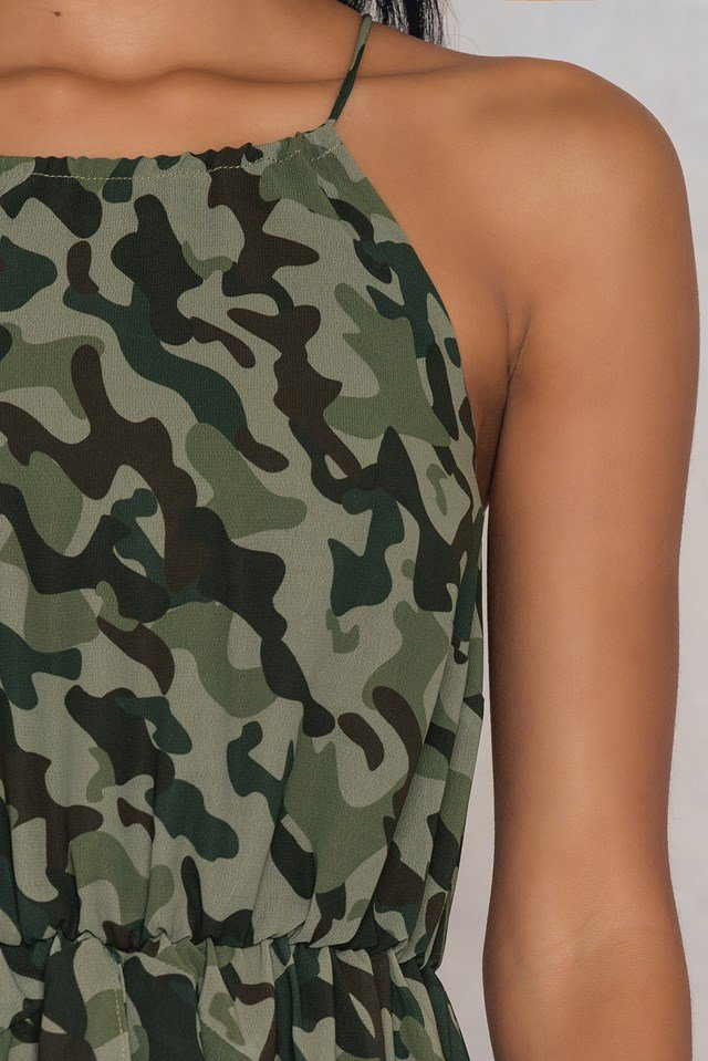 High Neck Frill Dress Army