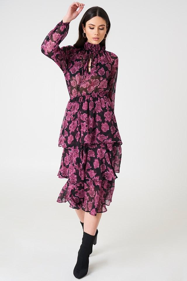 High Neck Frill Midi Dress NA-KD.COM