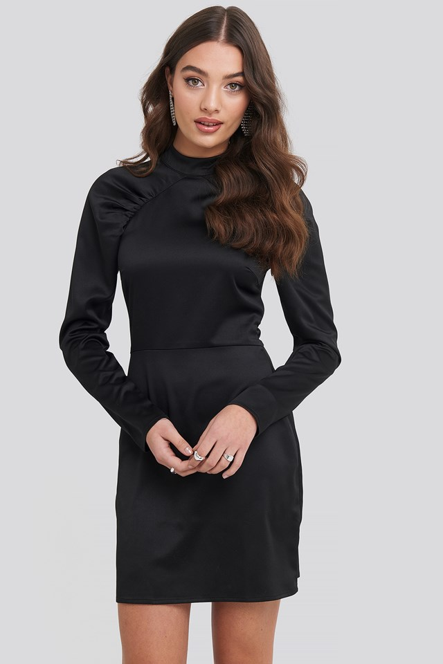 High Neck Gathered Sleeve Dress Black