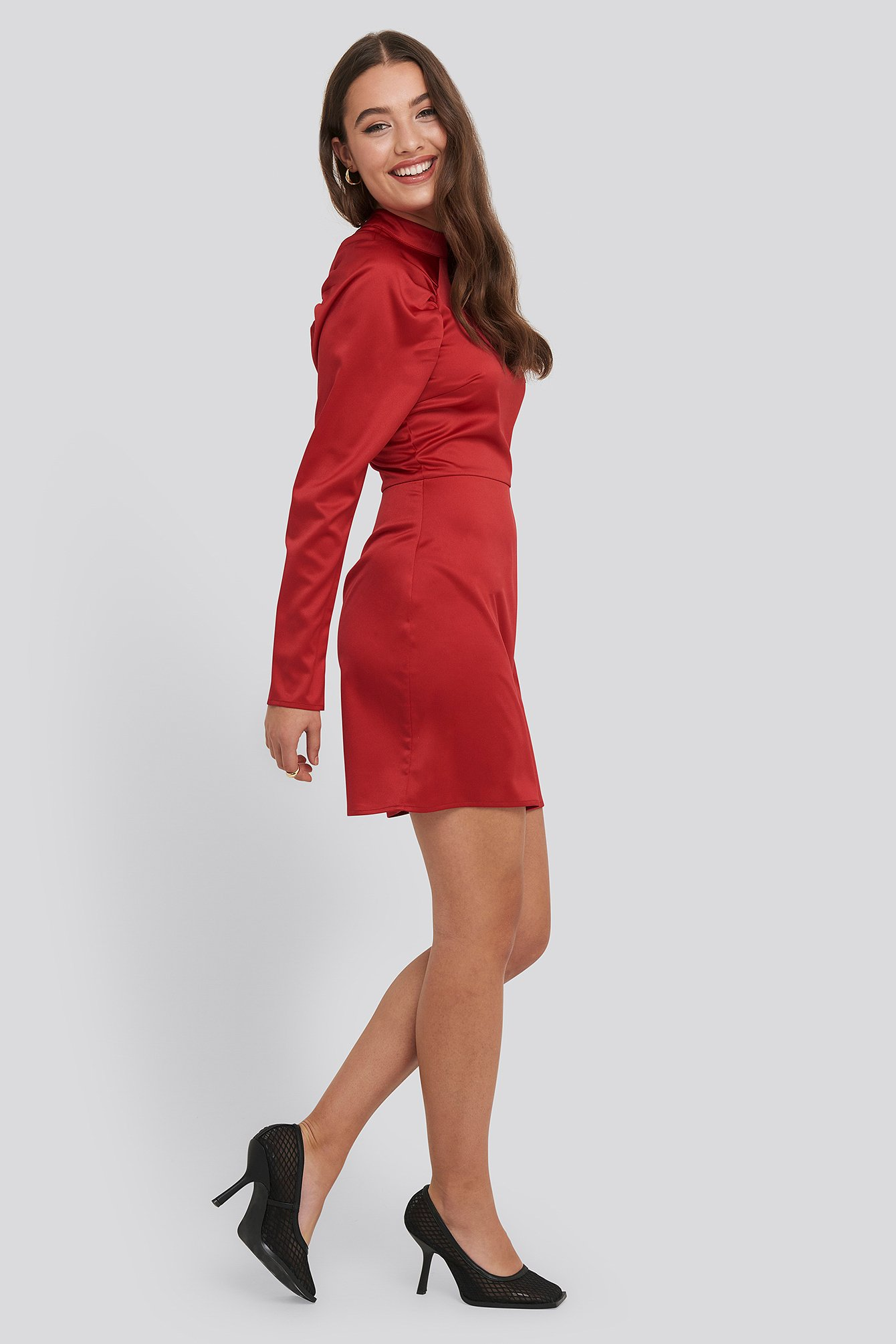 Red High Neck Gathered Sleeve Dress