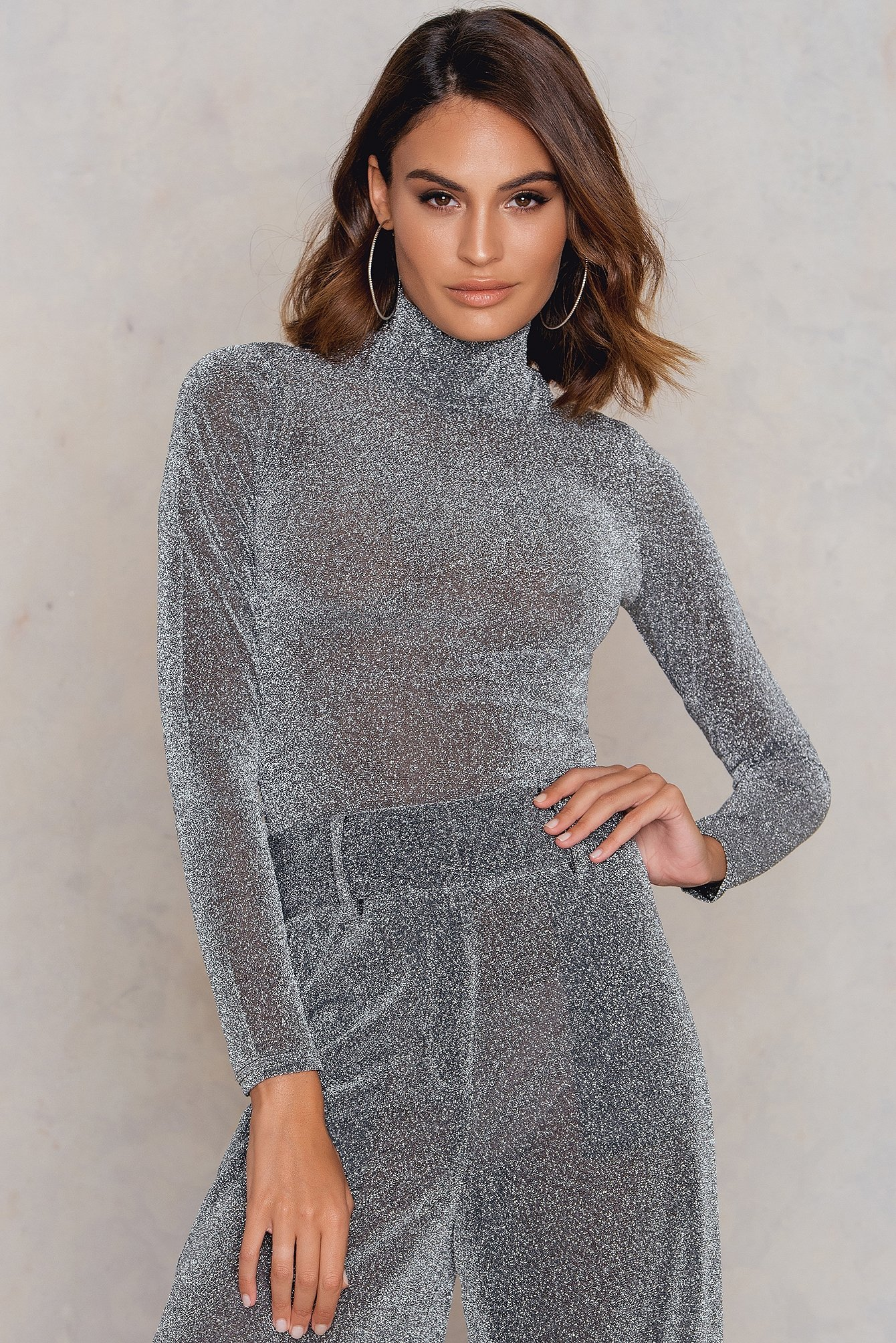 Silver High Neck Glittery Top