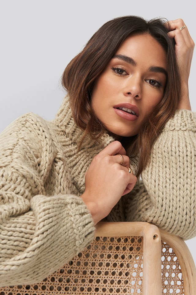 High Neck Heavy Cable Knitted Sweater Beige