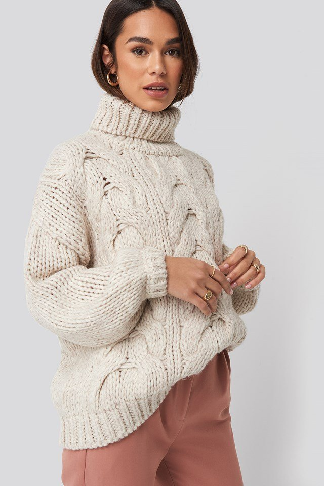 Wool Blend High Neck Heavy Cable Knitted Sweater Offwhite