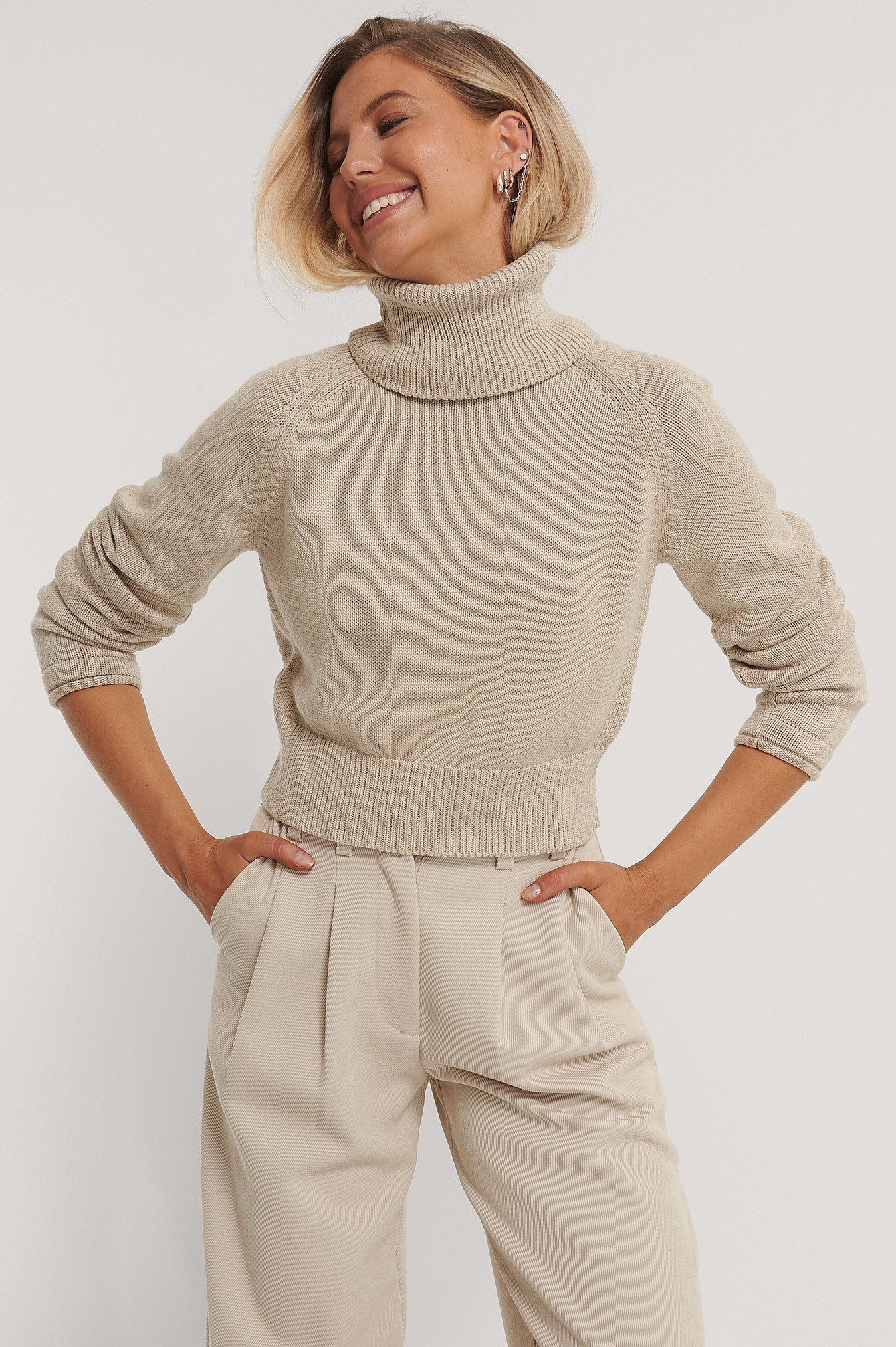 Light Beige High Neck Knitted Sweater
