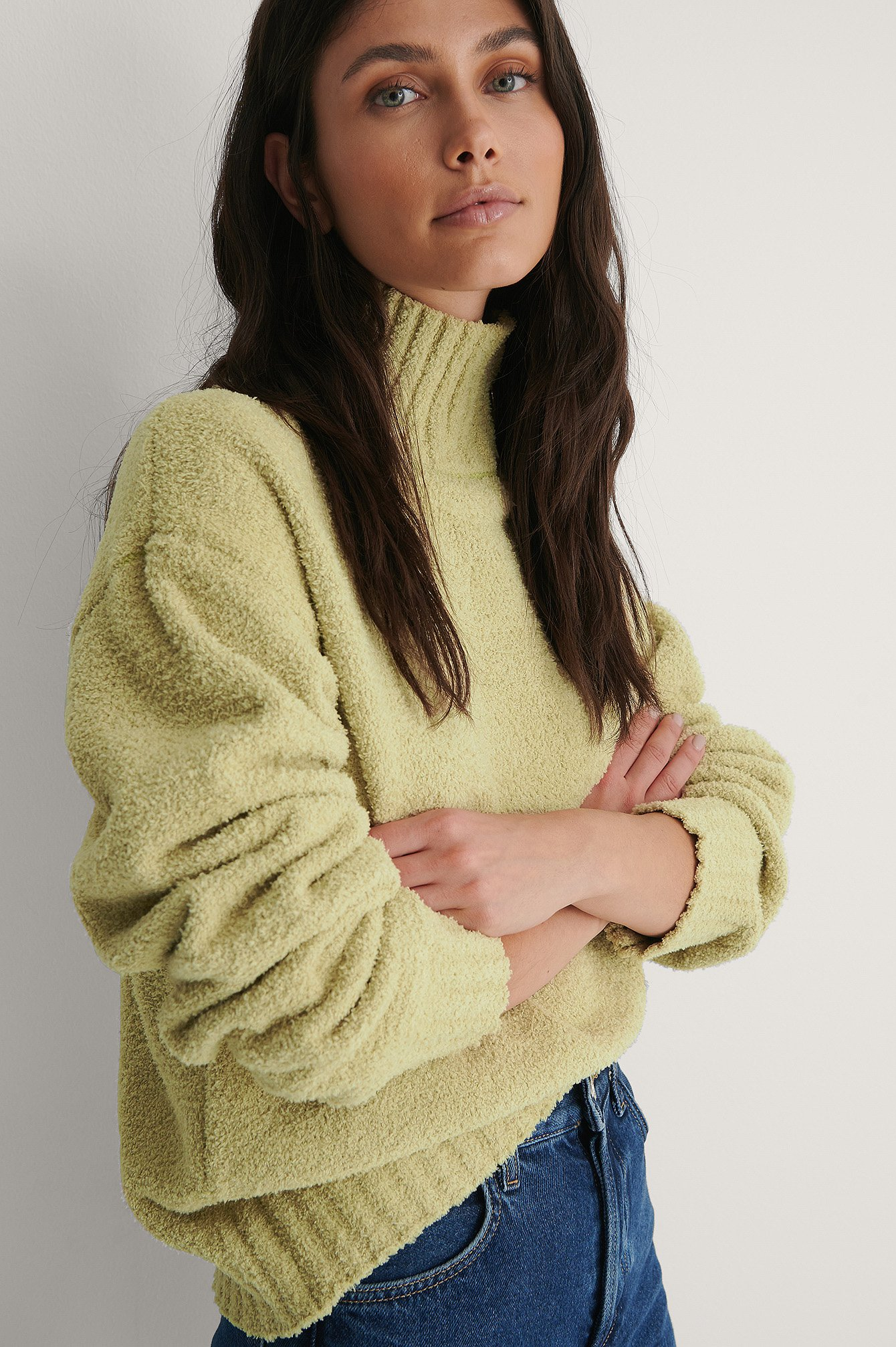 Light Green High Neck Knitted Sweater