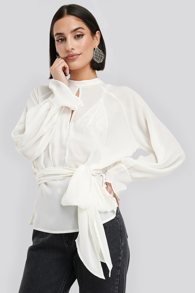 High Neck Knot Blouse White