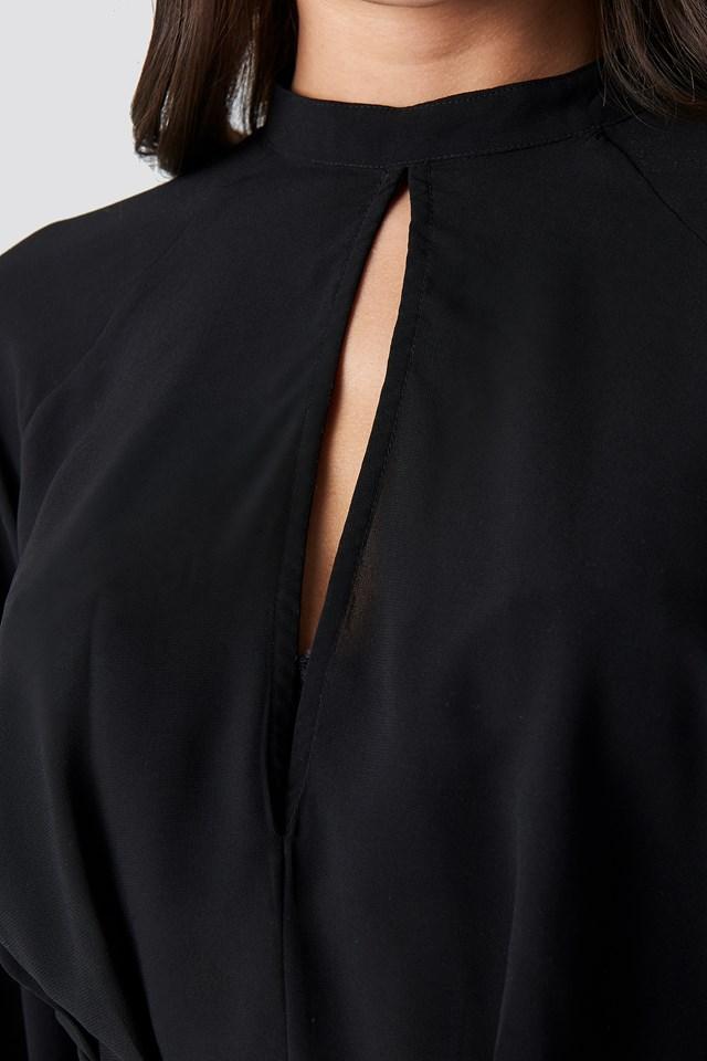 High Neck Knot Blouse Black