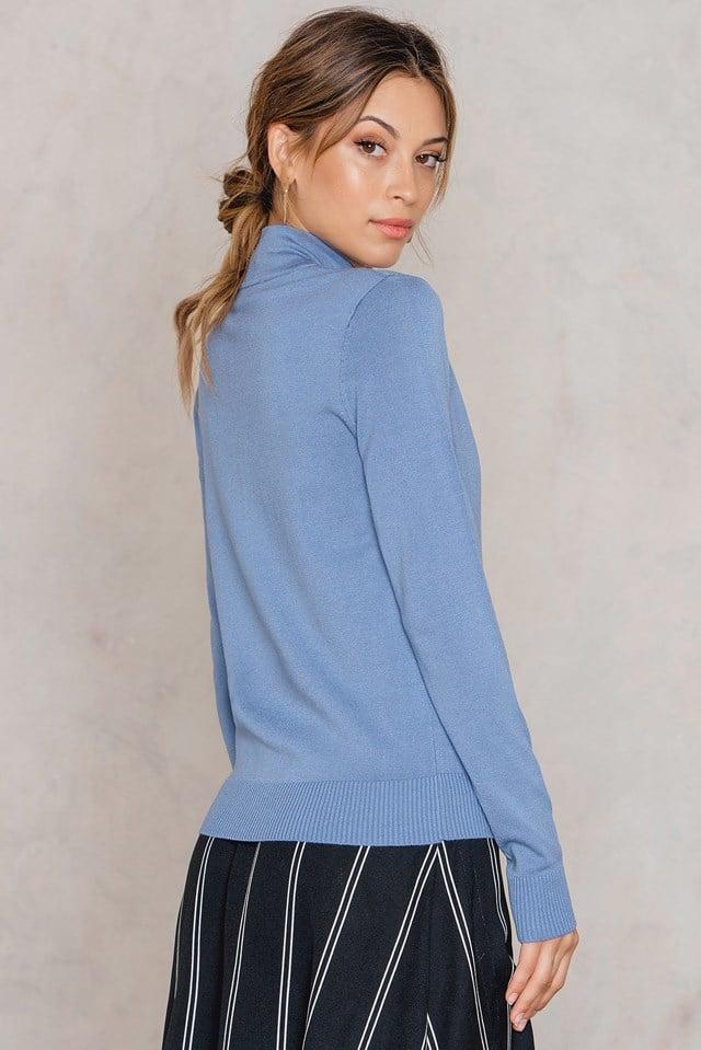 High Neck Knot Sweater Blue