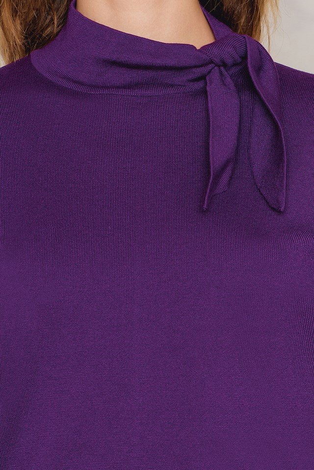 High Neck Knot Sweater Purple
