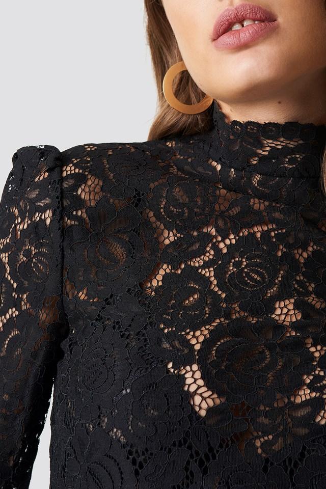High Neck Lace Blouse Black