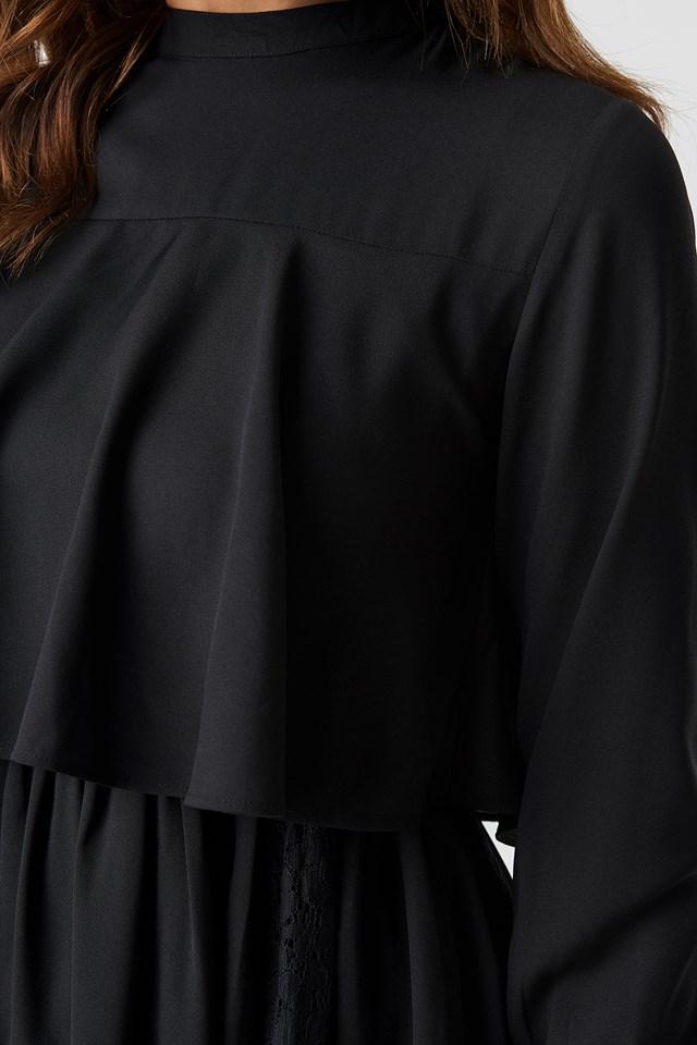 High Neck Lace Detail Midi Dress Black