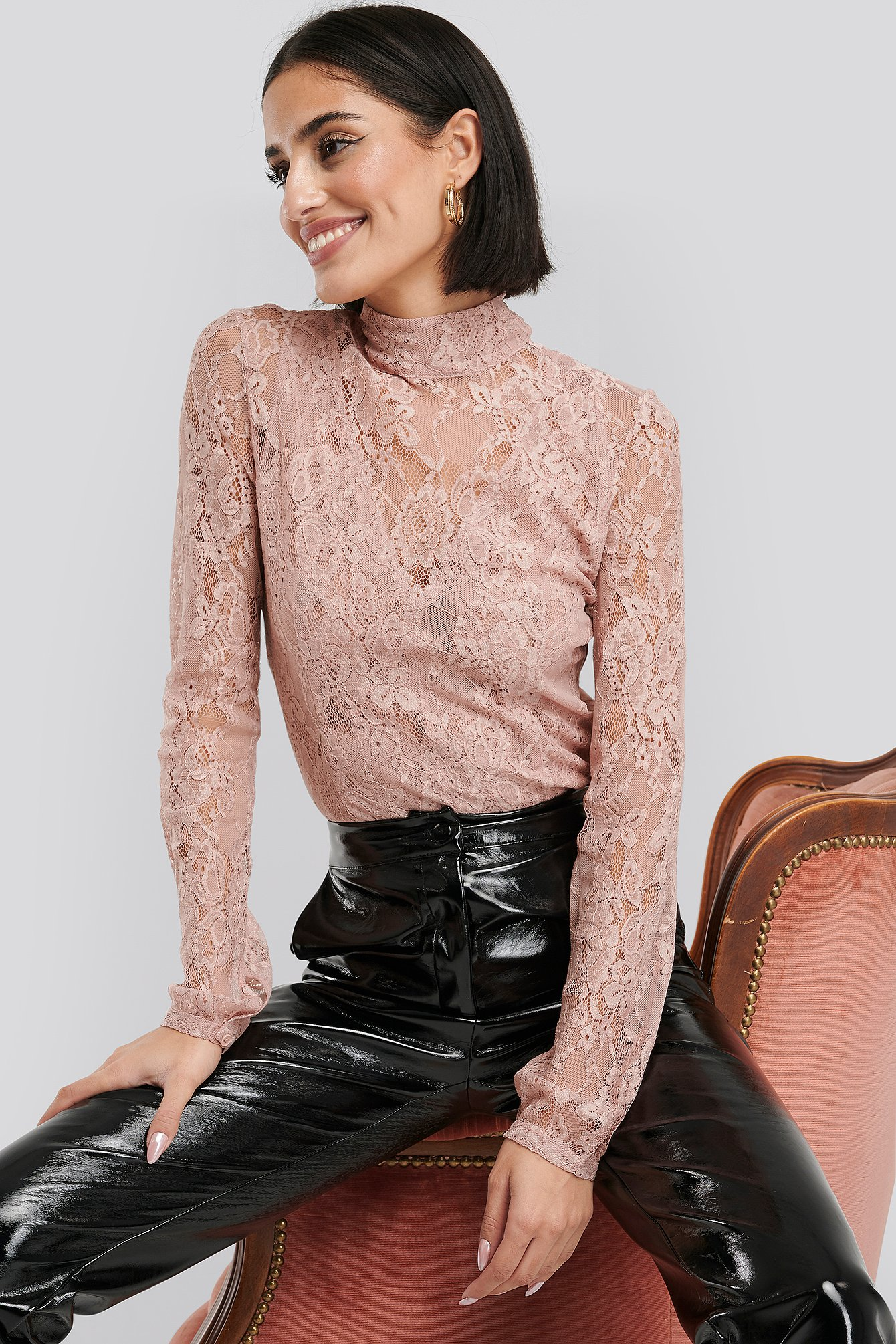 Dusty Pink High Neck Lace Top