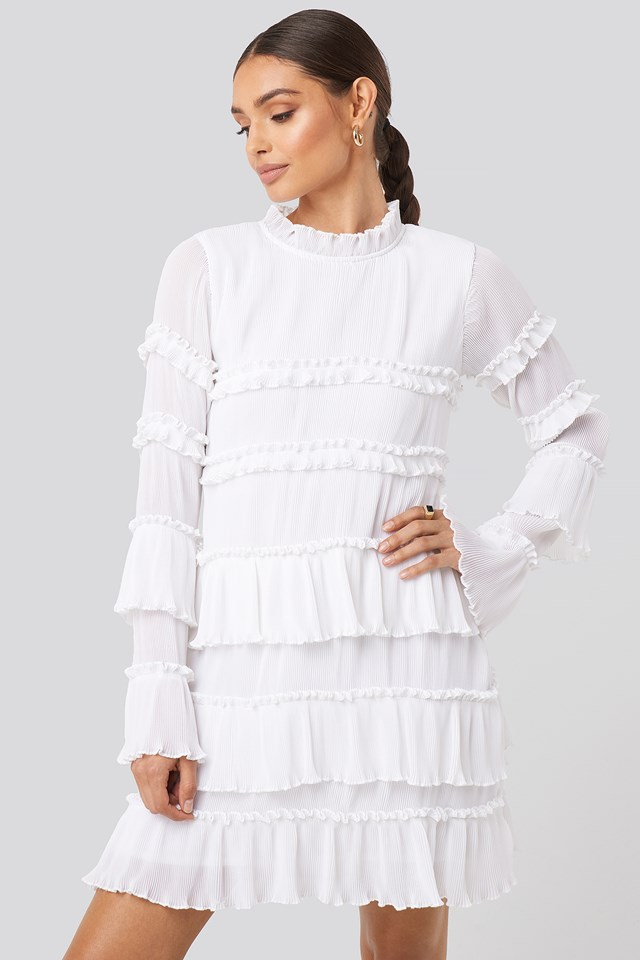 High Neck Layered Mini Dress White