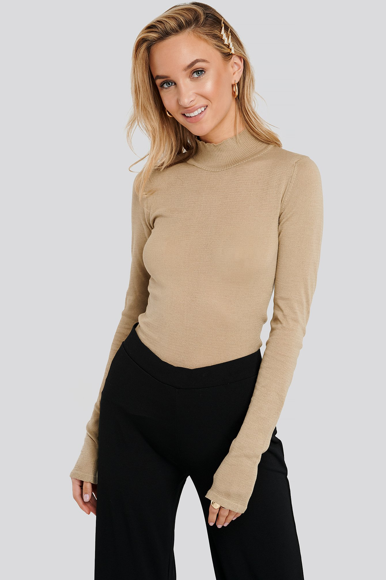 Beige High Neck Light Knit Sweater