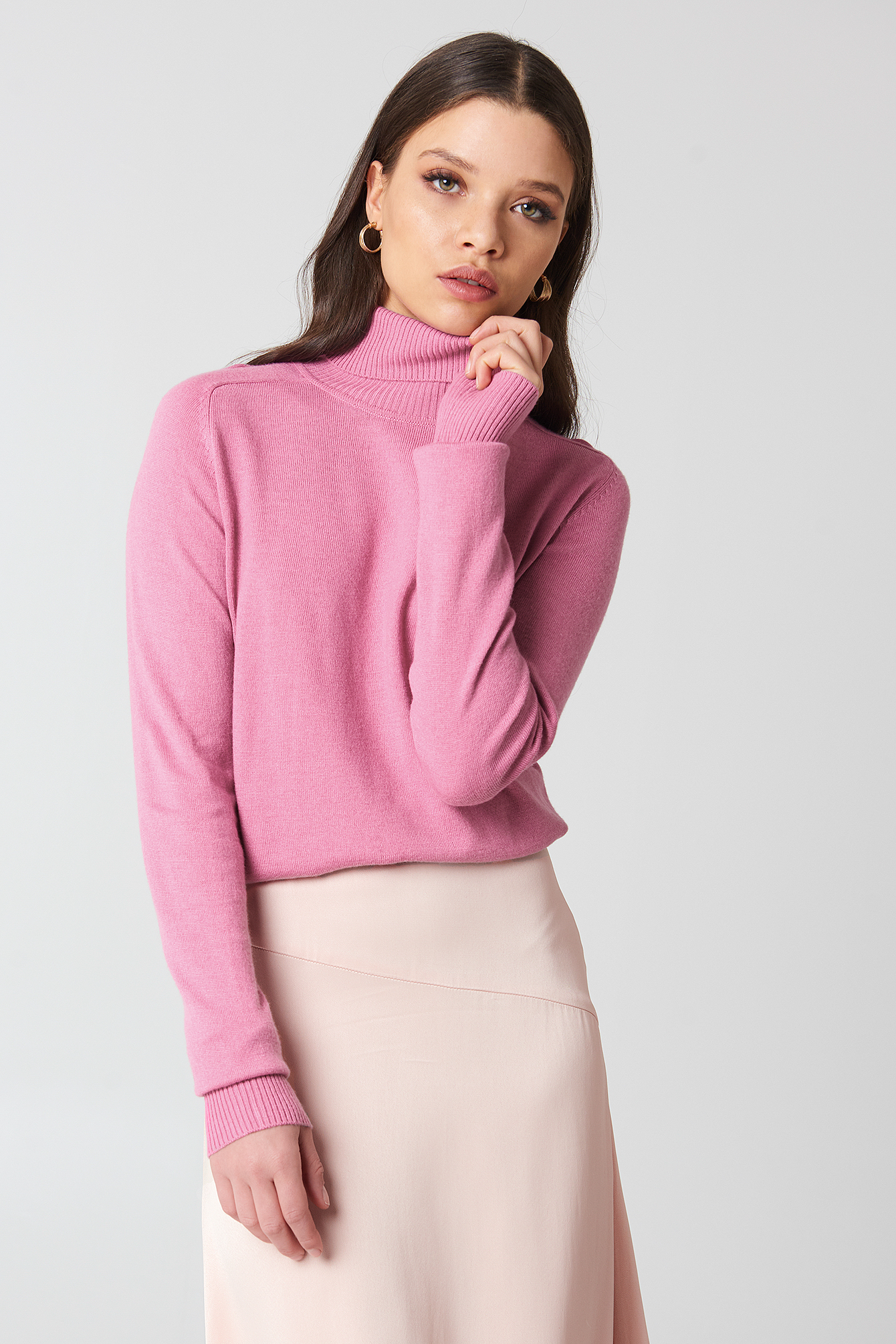 High Neck Light Knitted Sweater NA-KD.COM