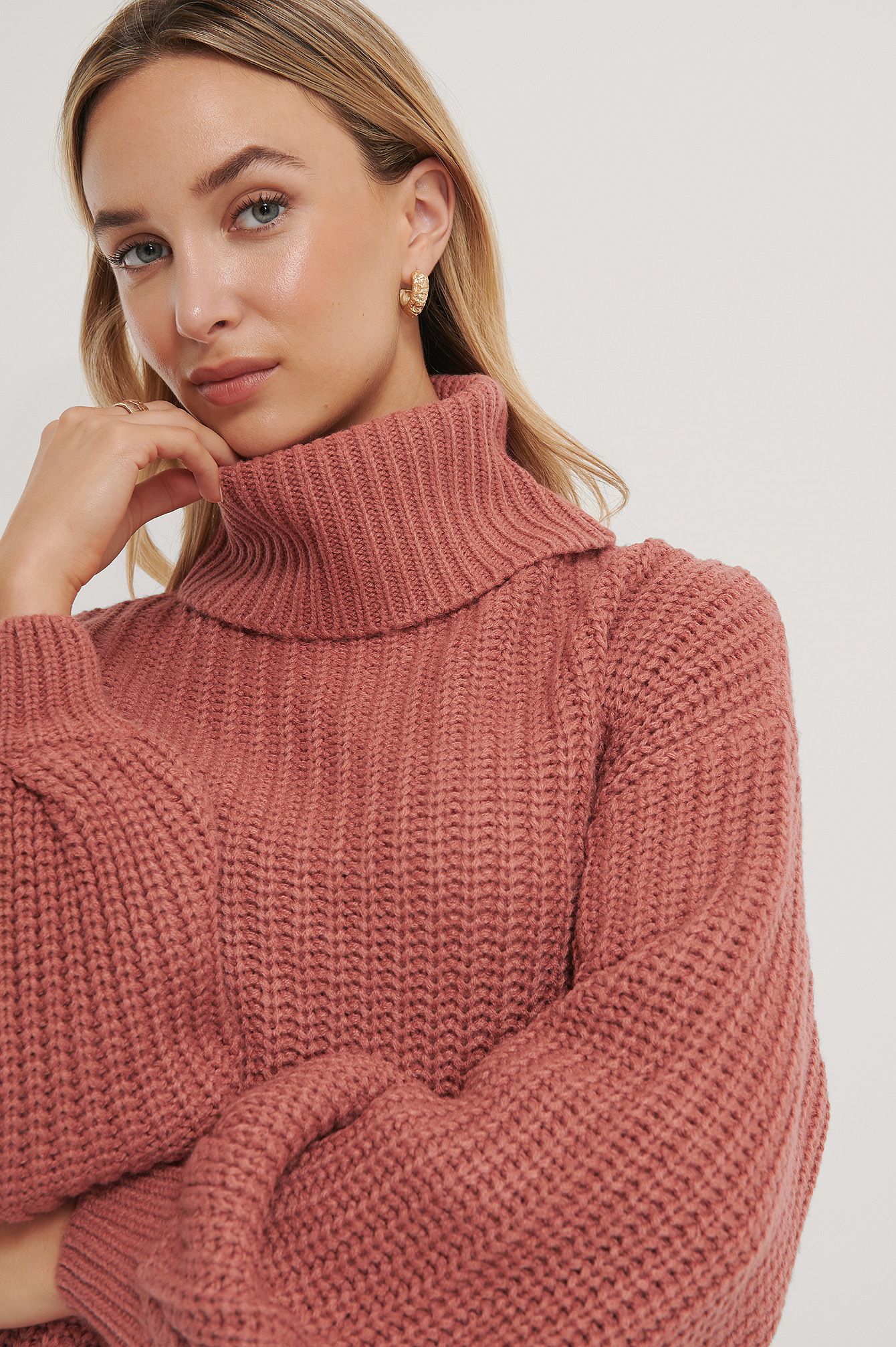 NA-KD High Neck Long Knitted Sweater - Pink