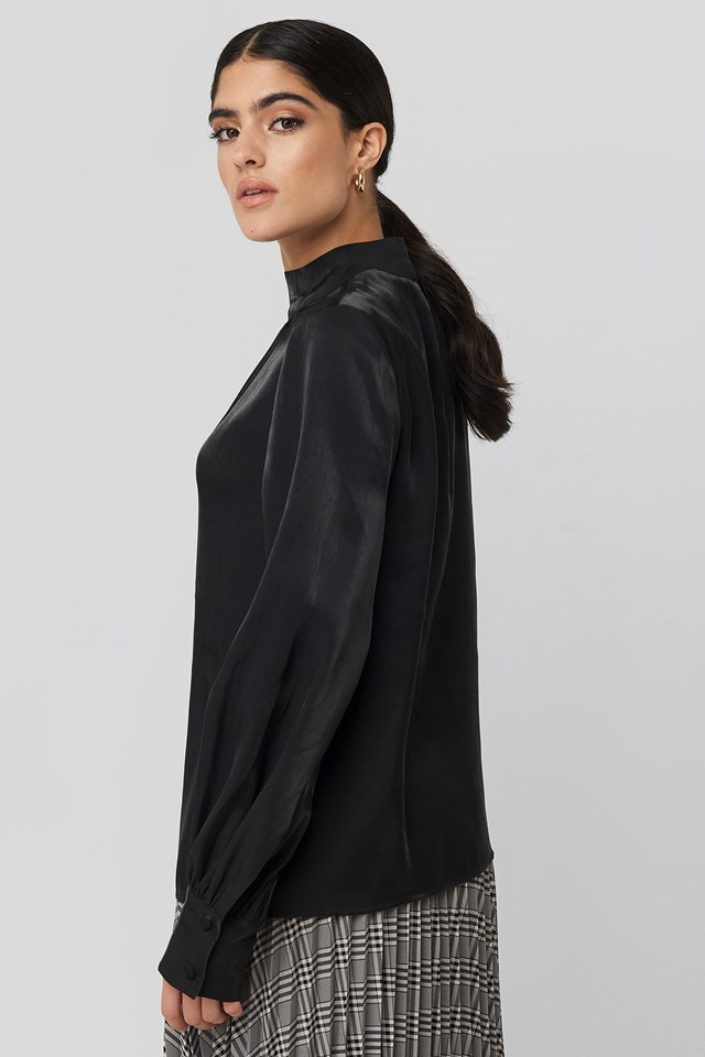 High Neck Loose Fit Blouse Black