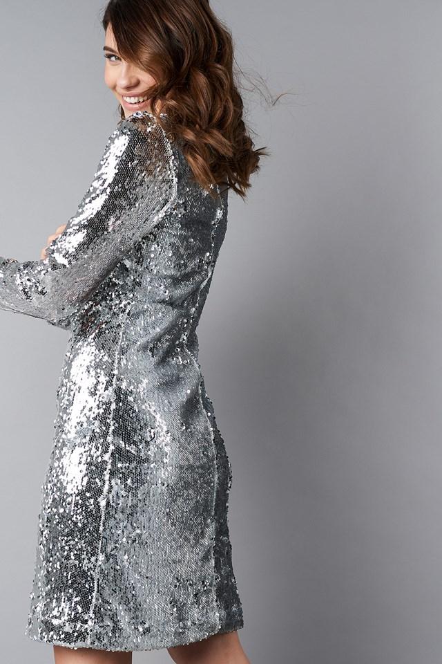High Neck LS Sequins Dress NA-KD.COM
