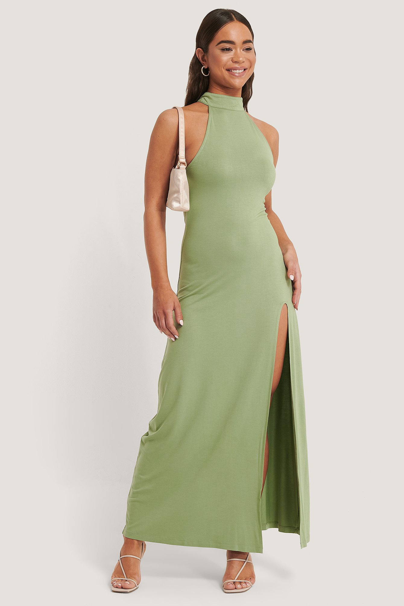 Green High Neck Maxi Dress