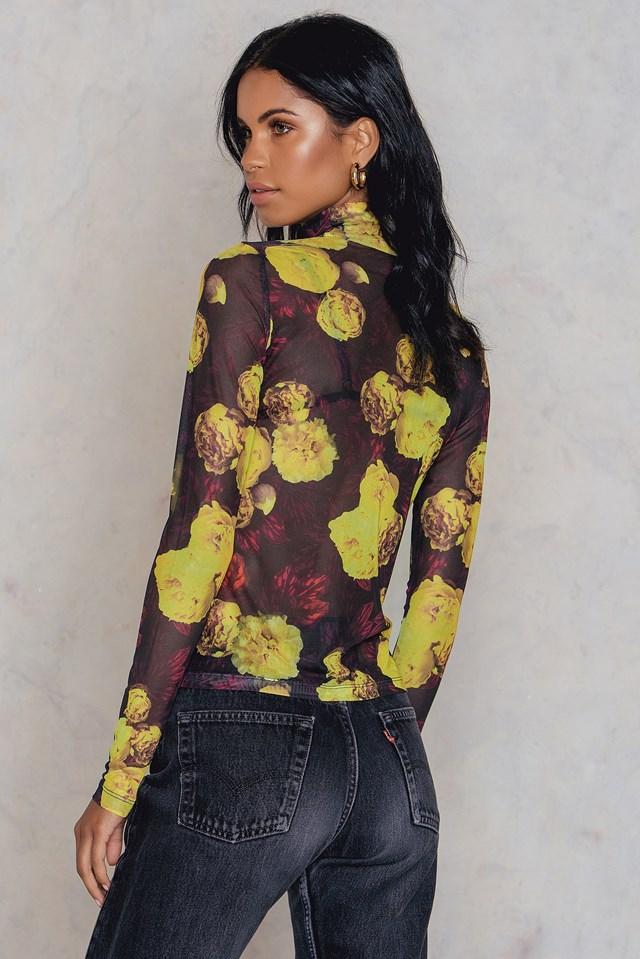 High Neck Mesh Top Yellow Flower