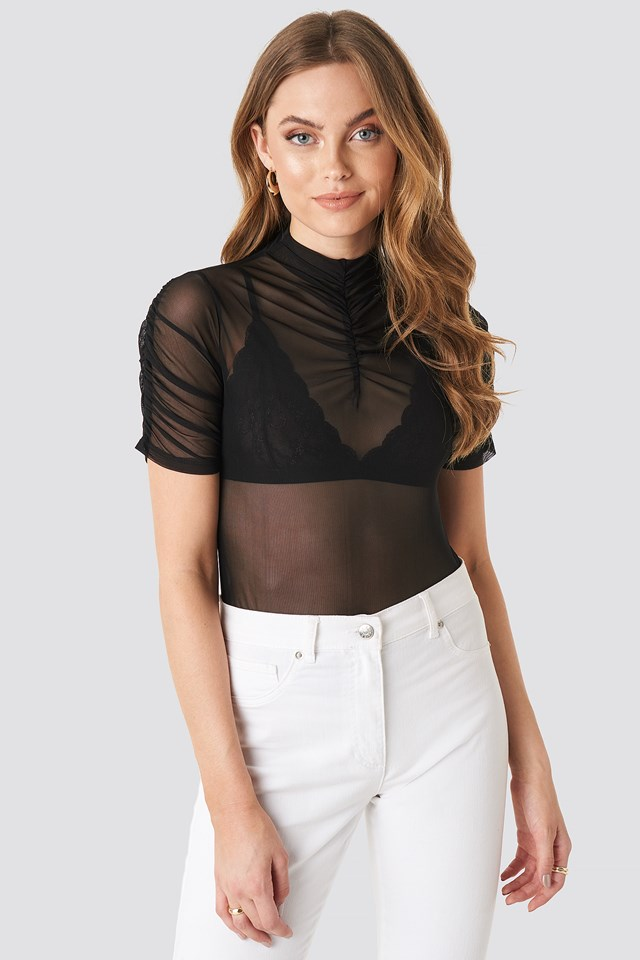 High Neck Mesh T-shirt Black