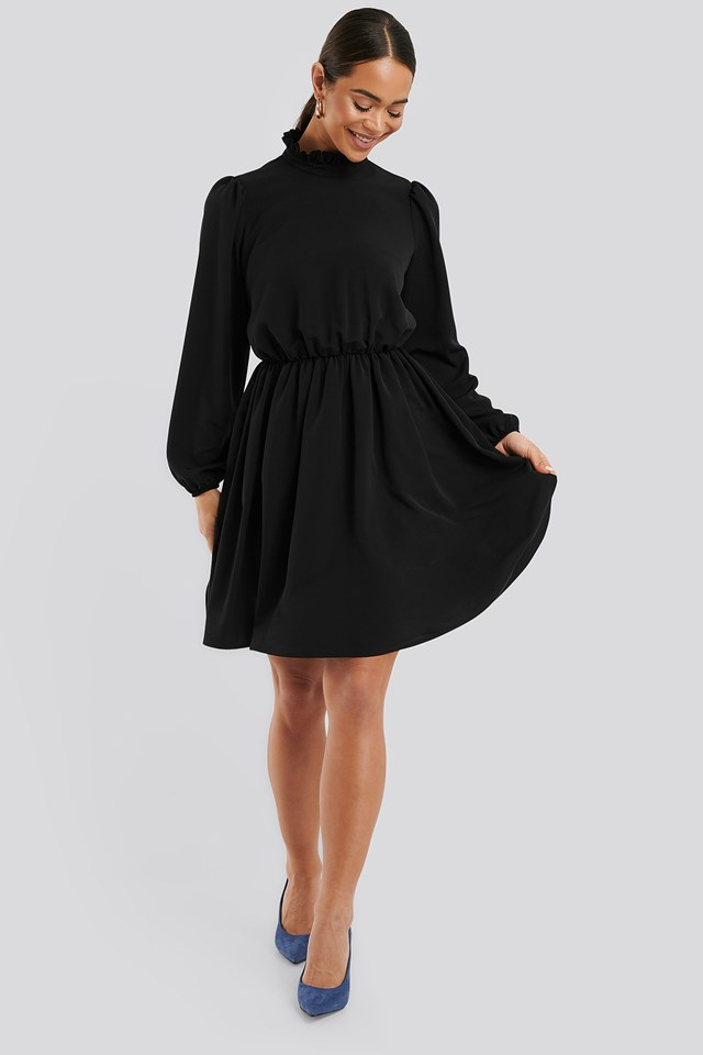 High Neck Mini Dress Deep Black
