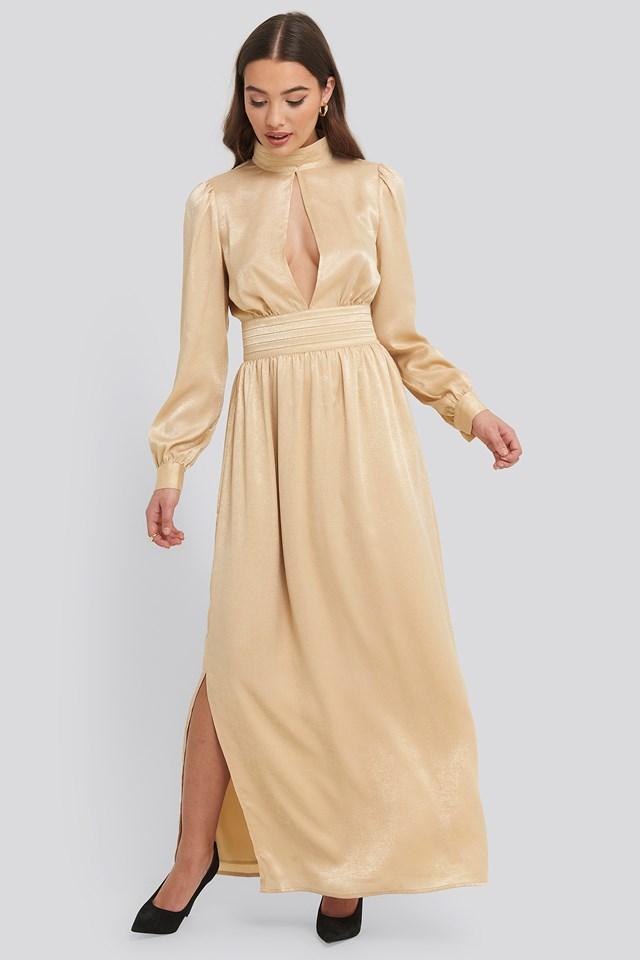 High Neck Open Back Maxi Dress Beige | na-kd.com