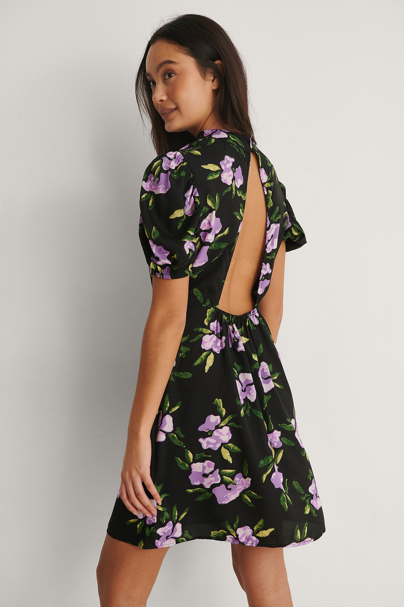 Purple Flower High Neck Open Back Mini Dress