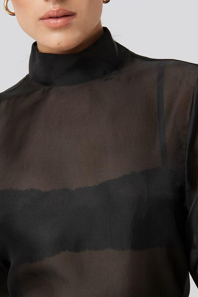 High Neck Organza Blouse Black