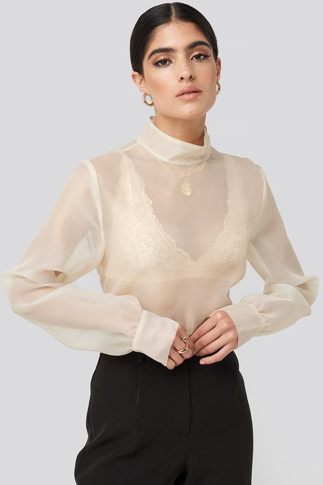 High Neck Organza Blouse Pearl