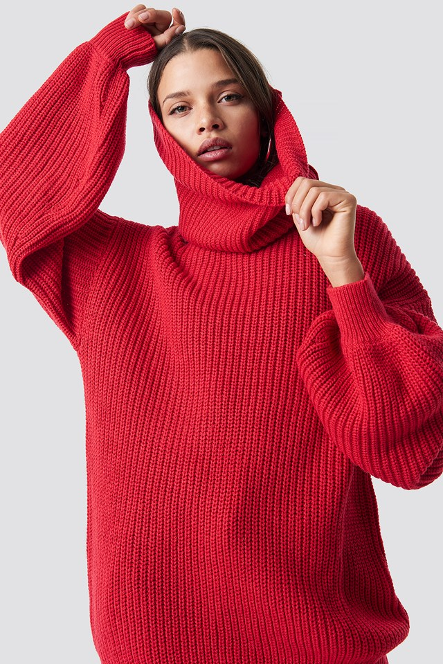 High Neck Oversized Knitted Sweater NA-KD