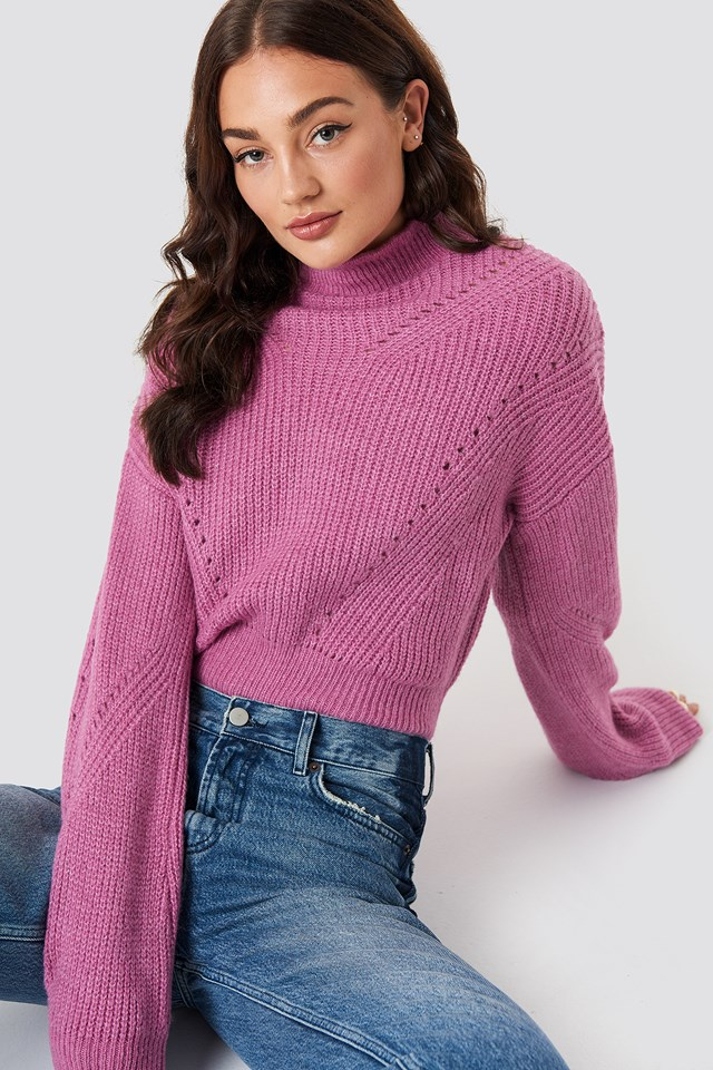High Neck Pattern Knitted Sweater NA-KD