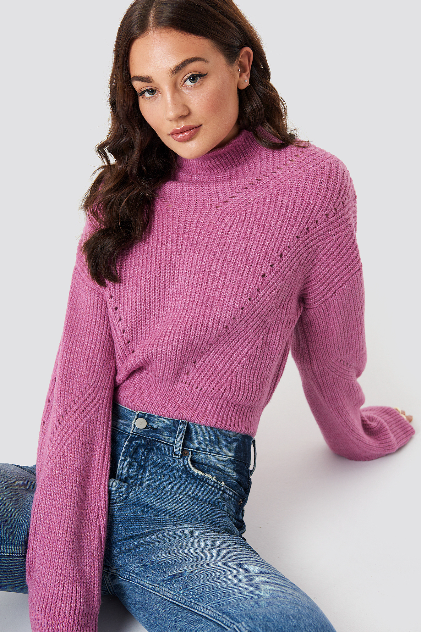 High Neck Pattern Knitted Sweater NA-KD.COM