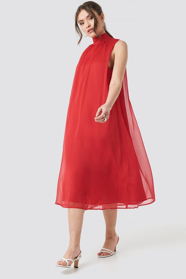 High Neck Pleated Dress Red
