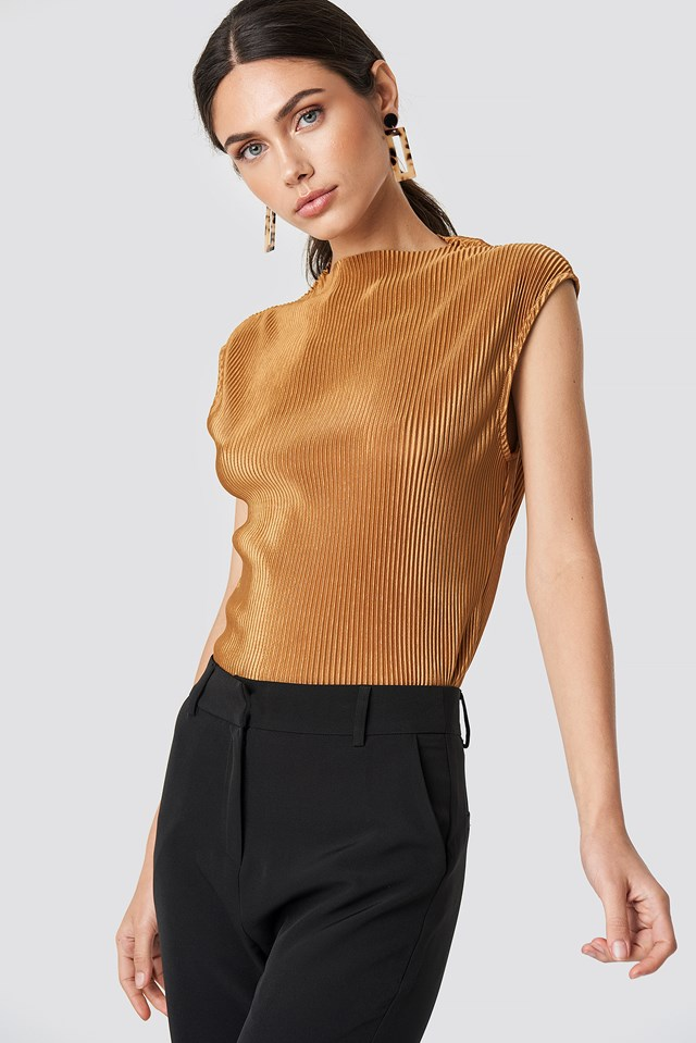 High Neck Pleated Top Tan