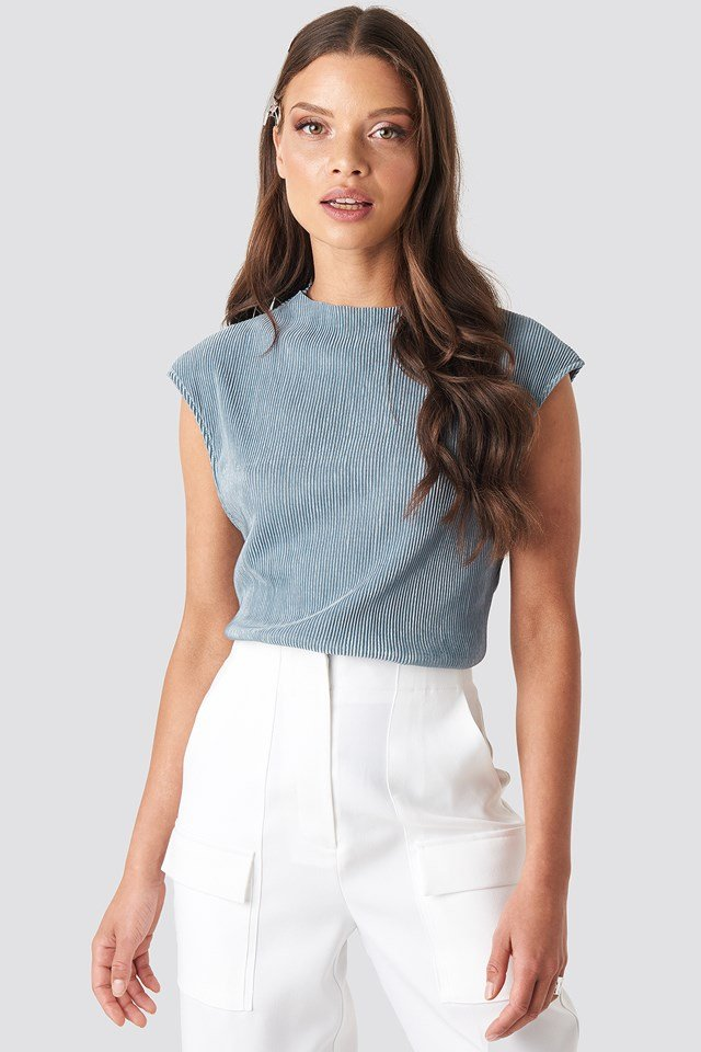 High Neck Pleated Top Dusty Blue