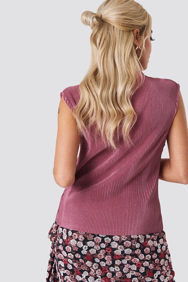High Neck Pleated Top Purple Rose