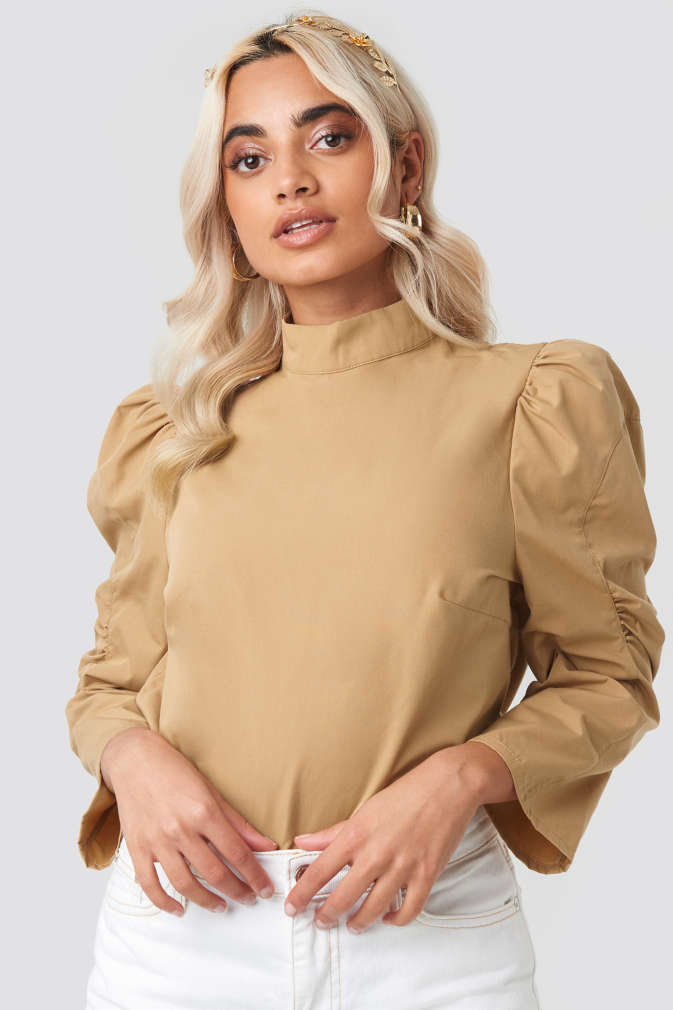 High Neck Puff Sleeve Blouse NA-KD.COM