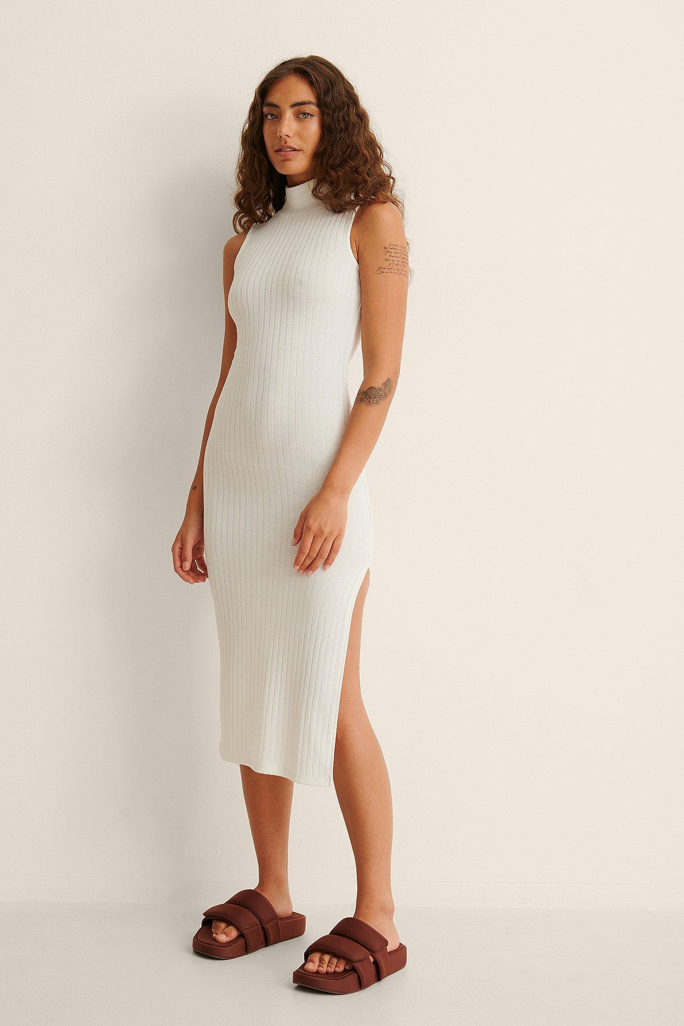 na-kd -  Recycelt Kleid Mit Hohem Ausschnitt - Offwhite