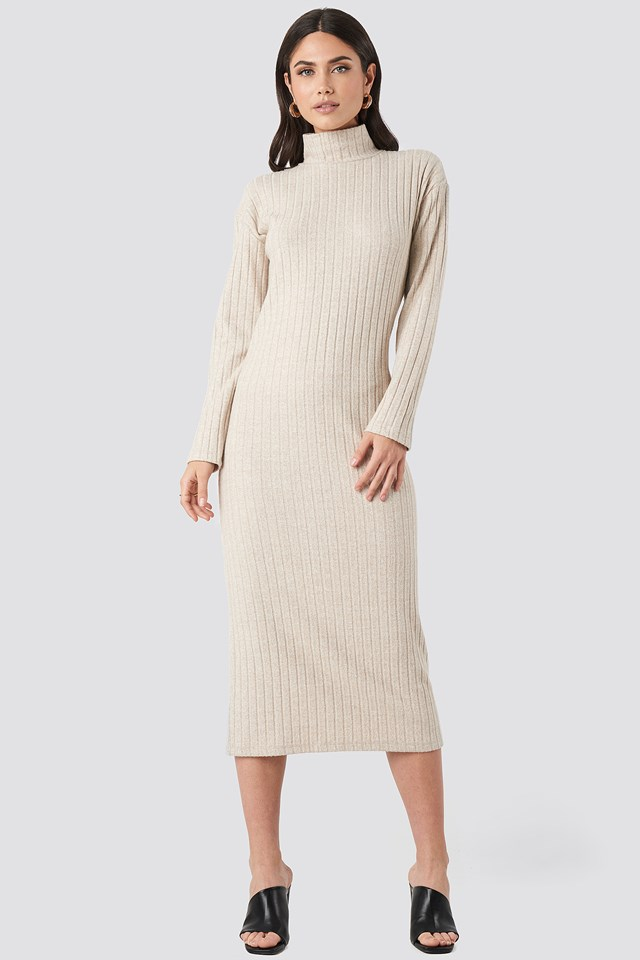 High Neck Ribbed Ankle Length Knitted Dress NA-KD Trend