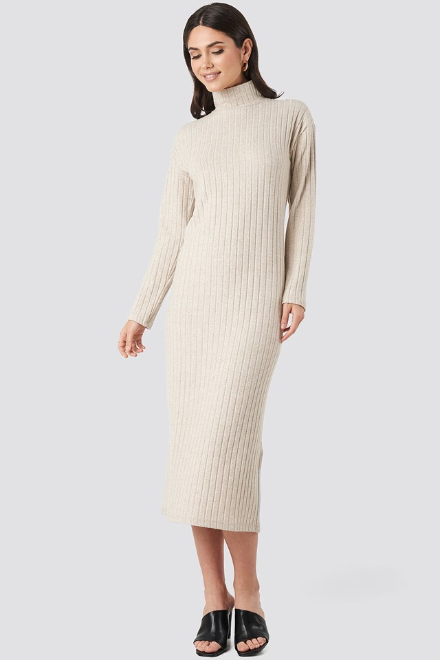 High Neck Ribbed Ankle Length Knitted Dress Beige