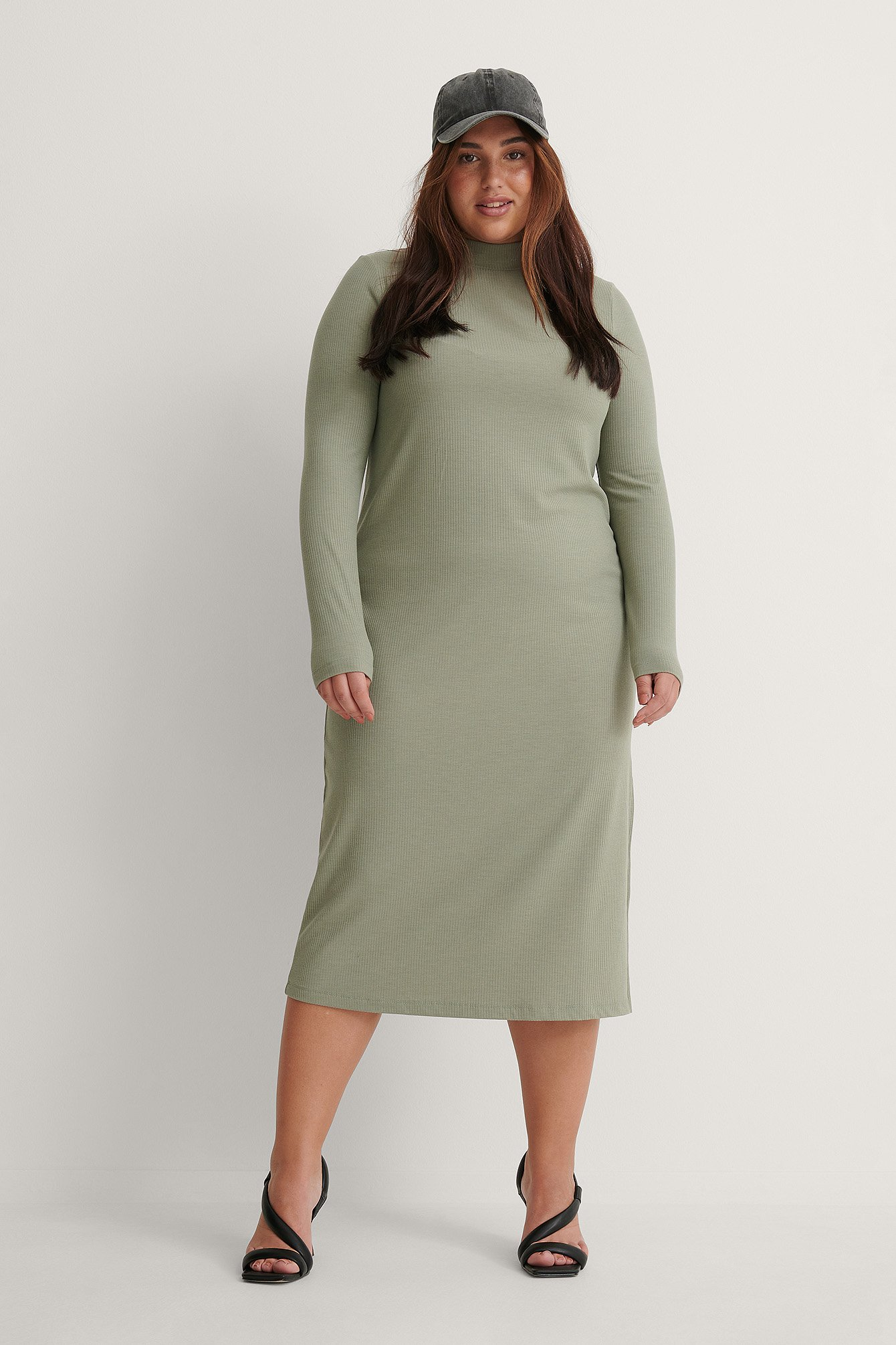 Dusty Green Recycled Highneck Ribbed Basic Longsleeve Dress