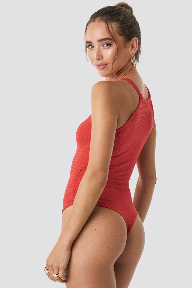 High Neck Ribbed Body Red